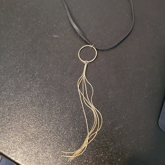 KL Black Leather Choker Necklace Gold Tone Tassel